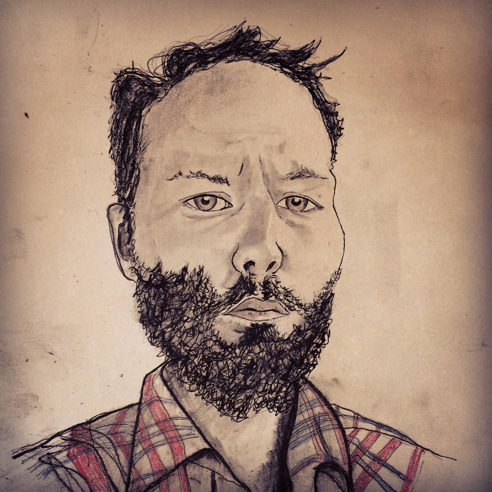 I drew my friend,  Joshua Marie Wilkinson , as part of an ongoing portrait series. JMW is coming to town next weekend and will read with  Eleni Sikelianos  and  Endi Bogue Hartigan   at Literary Arts downtown on Sept. 27 .    Also, I'd like to start a portrait series of strangers (to me), so if you'd like me to draw a portrait of someone you know, to eventually give to them, I'm now open for paid commissions. Send me an email.