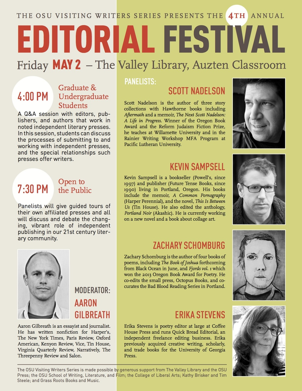 I'll be at Oregon State University in Corvalis, OR, this Friday for the 4th Annual Editorial Festival. If you have a question, you should bring your question to Corvalis.
