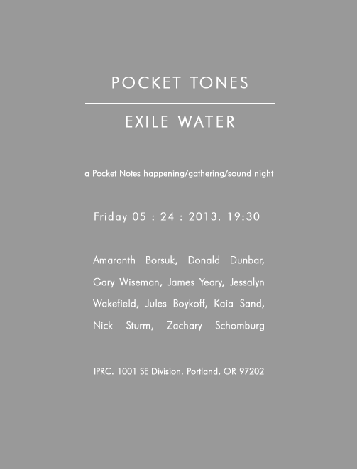 This Friday night, I'm going to participate in the Pocket Notes happening/gathering/sound night to help the editors, Stacey Tran and Travis Meyer, celebrate the release of their second issue of Pocket Notes, of which I'm a contributor. It'll be at the IPRC at 7:30.  If you wanna go you should just go.