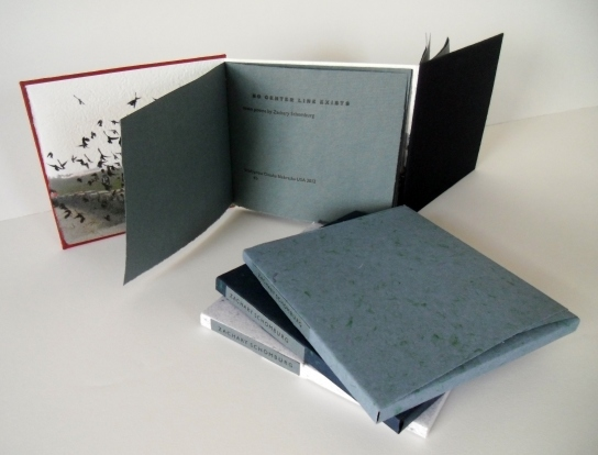 Denise Brady, the bookmaker behind  Bradypress  in Omaha,  has designed and printed a beautiful book which features a set of b-side poems of mine written prior to the publication of Scary, No Scary . This book is printed on antique paper and her own handmade paper, and the boards are covered in Japanese silk. The text is two single sections sewn  dos-à-dos . It is a signed and numbered edition of only 18 copies. Maybe you want to  buy one .