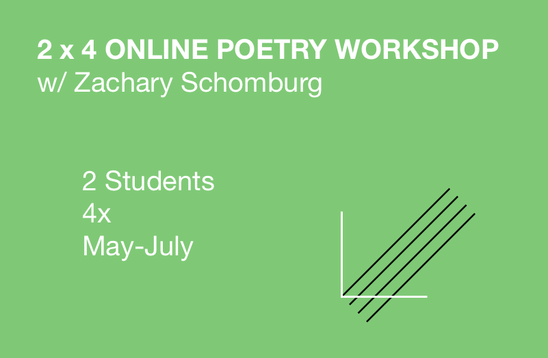 In May, June and July of 2018, I will host multiple 4-week poetry workshops via Google Hangouts. Each workshop is capped at 2 students of any level. Together, the three of us will arrange a time for a weekly 1-hour online workshop. The first 20 minutes of that hour will be spent in Google Docs building commentary on both new poems by both students. The remaining 40 minutes will be spent workshopping both poems live via Google Hangouts.   The main focus will be to sustain a poetry writing practice for the month. After each meeting, I'll give both students a prompt to complete for the week, one that addresses some aspect of poetry writing brought up in our conversation.   Because each workshop is capped at 2 students, each student gets about 30 minutes of focused attention on their own new work at each meeting. The workshop is 4 total weeks. Meeting times TBD.    $200 total per person for 4 weeks Contact me to reserve your spot:  zacharyschomburg@gmail.com