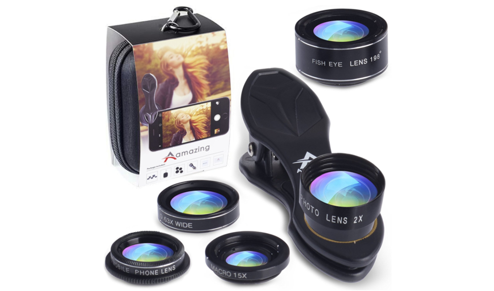 $19.97 - Not everyone has a professional camera and that is fine! Most people have a good camera in their pockets, this set of 5 clip on photo lenses will let your cell phone take great images with unique new angles.