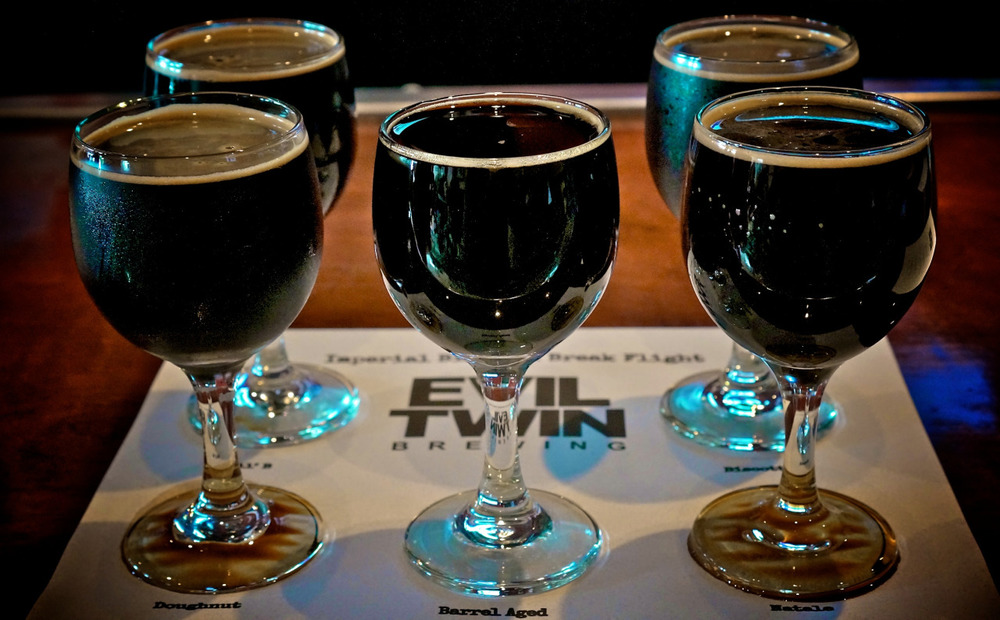 SF Beer Week highlight: Evil Twin Imperial Biscotti Break variations: Lil B, Biscotti, Natale, Doughnut and the elusive Bourbon Barrel Aged.  Delicious lineup. Bourbon wins.
