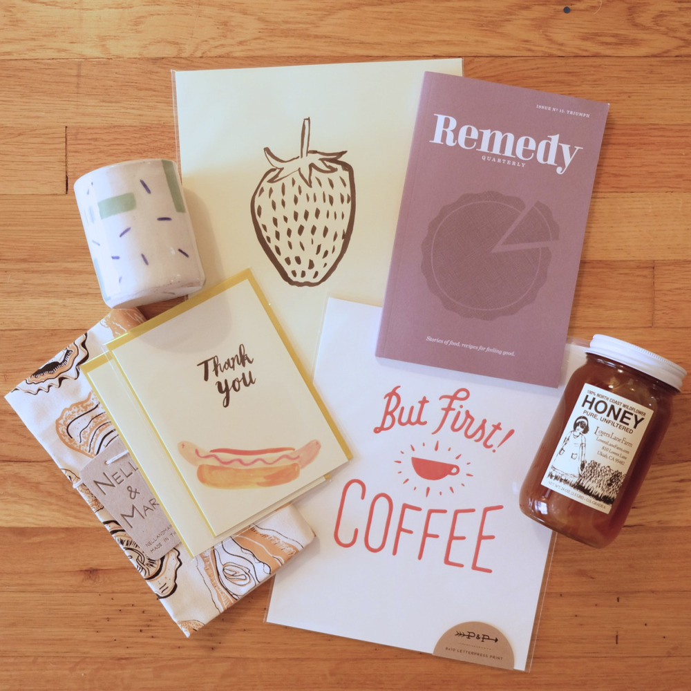 Here's my haul from Renegade SF. Remedy Quarterly Issue 12. Dashes Ceramic Cup from Mary Tawfall. But First! COFFEE print from Pen and Palates.  A jar of rich, wild honey from Foggy Notion. Oysters Tea Towel from Nell and Mary.  Original India Ink Painting of a strawberry and hot dog thank you cards by Kristina Micotti. hmm… it's all food related.