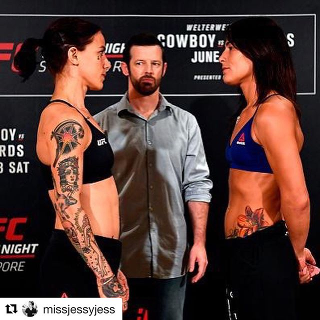 "@missjessyjess called me 2 weeks out from her fight. Before that we had never spoken, I didn't know much about her except that she is tough as hell. @joseshortytorres told me that he trusted that she would do everything I asked and wouldn't break mentally. I was hesitant to take over her weight cut until she said ""no matter what I'm fucking making weight"". I knew right there she was badass and all I need to do was give her the formula and be by my phone 24/7 to answer any of her questions. Her mental toughness is #inspirational. @missjessyjess thank you for trusting me and thank you for listening to me. Great job on making weight. Now let's have some fun tomorrow! ・・・ 126lb as naked as the day I was born.  This camp has been amazing. My weight cut was the best it's ever been. The second photo is right when I officially weighed 126lb. Damn different from St Louis!  Thank you to @loutrition for helping me out last minute. I couldn't have done it without your guidance 2 weeks out. Thank you @joseshortytorres for checking in on me constantly and threatening to kick my ass if I fucked off on my diet 😂 I'm excited to have y'all on the team. Thank you @proteinhouse1 for keeping all my meals in check and delicious.  Thank you @bo.sandoval @ufcpi for being an amazing source of guidance, knowledge and support.  And most importantly thank you @bigwoodmma702 we have our winning recipe ❤️ Tomorrow it's happening. No hiccups. No mistakes. No distractions.  I'm so fucken excited! #UFCSingapore #JRCvsEYE"