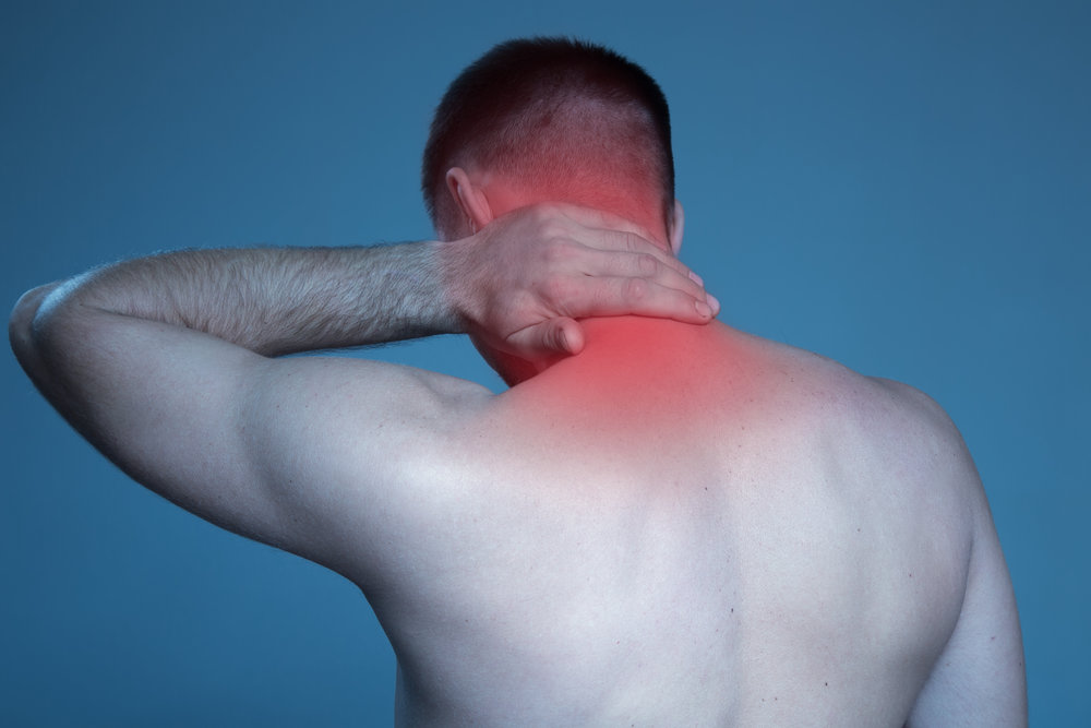 In case you aren't sure where neck pain is, here is a stock photo to indicate what a pain in the neck neck pain is. In this instance, pain is indicated by redness.