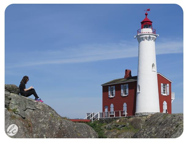 Sketching a lighthouse near Victoria, Canada