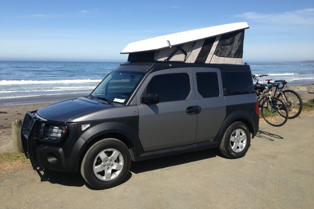 Our old Honda Element with E-Camper pop up tent conversion by Ursa Minor