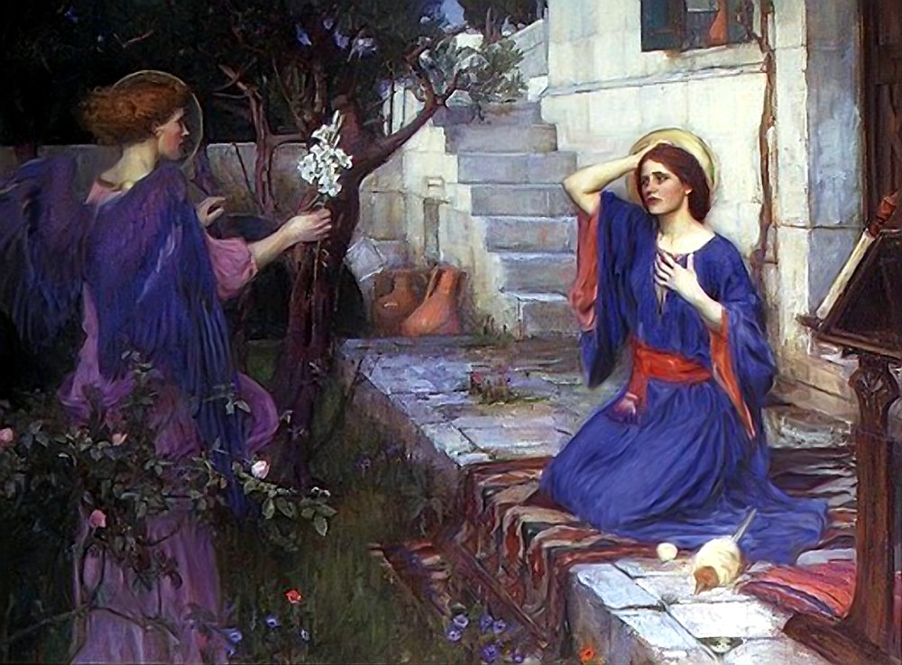 The Annunciation  (1917) by William Waterhouse. I'm a sucker for Pre-Raphaelite paintings.