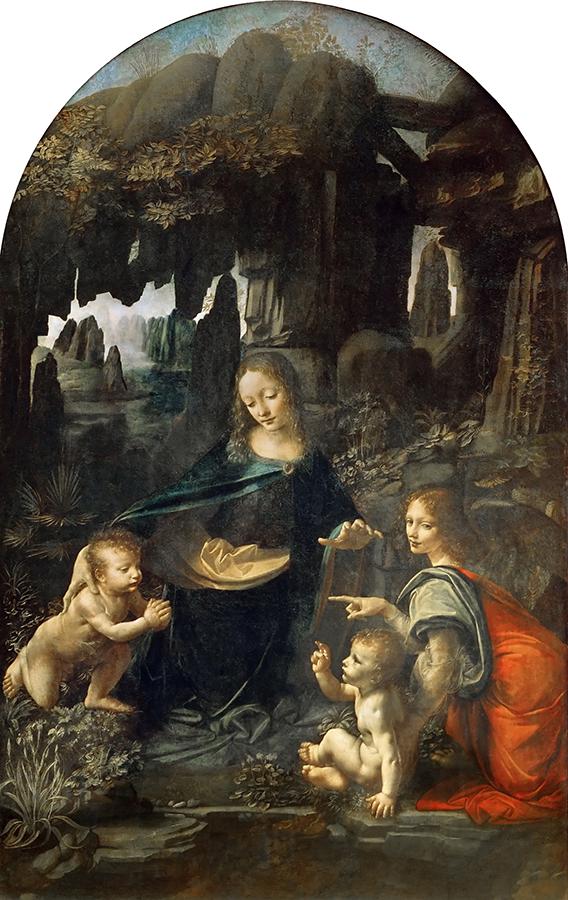 Leonardo Da Vinci,  Virgin of the Rocks , 1486, Louvre, Paris. Depicted on the right is Archangel Uriel.