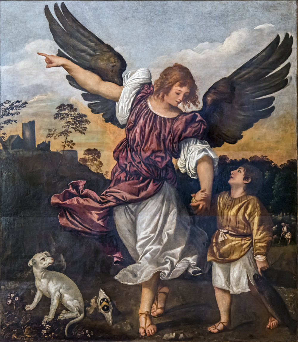 Titian , Archangel Raphael and Tobit , ca. 1542, Gallerie dell'Accademia, Venice