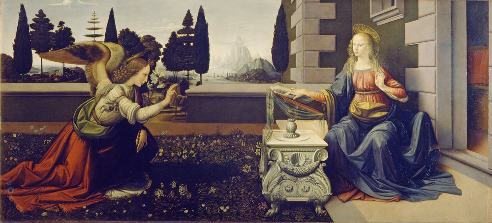Leonardo da Vinci,  Annunciation , 1475, Uffizi, Florence. Depicted left is Archangel Gabriel.