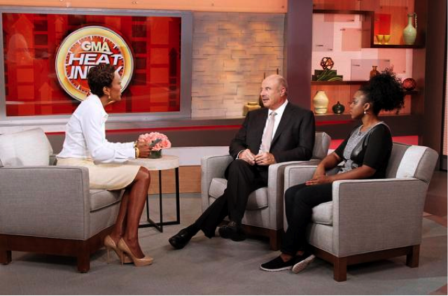 Beverly Gooden speaking with Dr. Phil and Robin Roberts on Good Morning America
