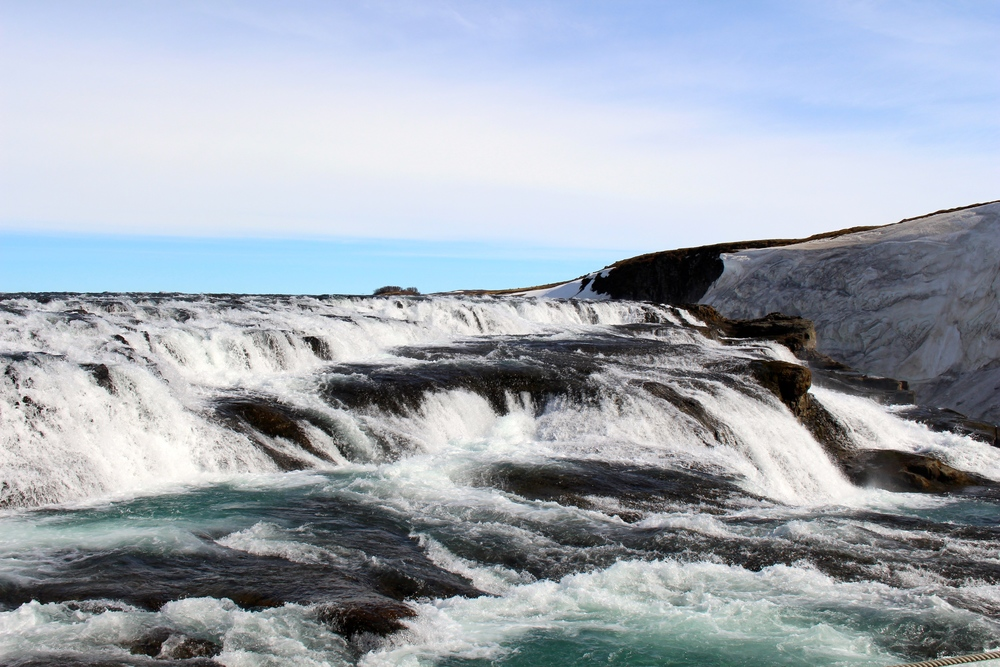 The Golden Waterfalls, also known as the Gullfoss Waterfalls.  This is one of the main attractions in Iceland.