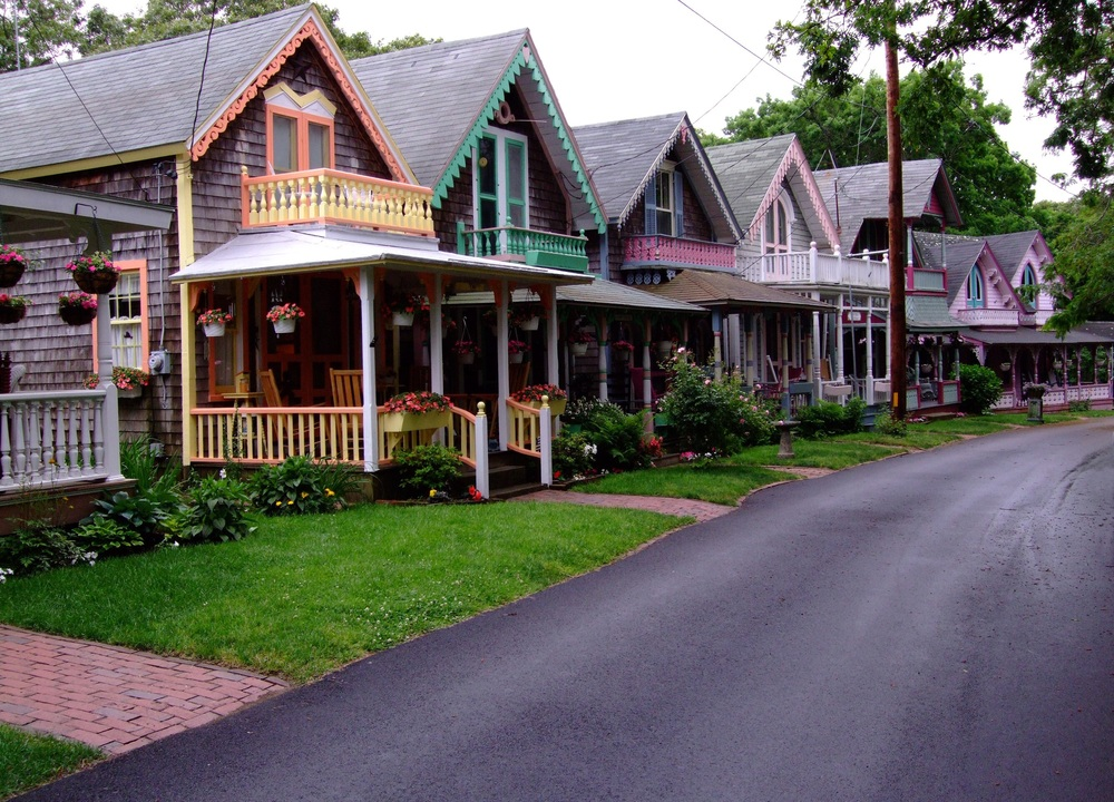 "Some of the beautiful homes at Martha's Vineyard, known as ""Gingerbread Houses"""