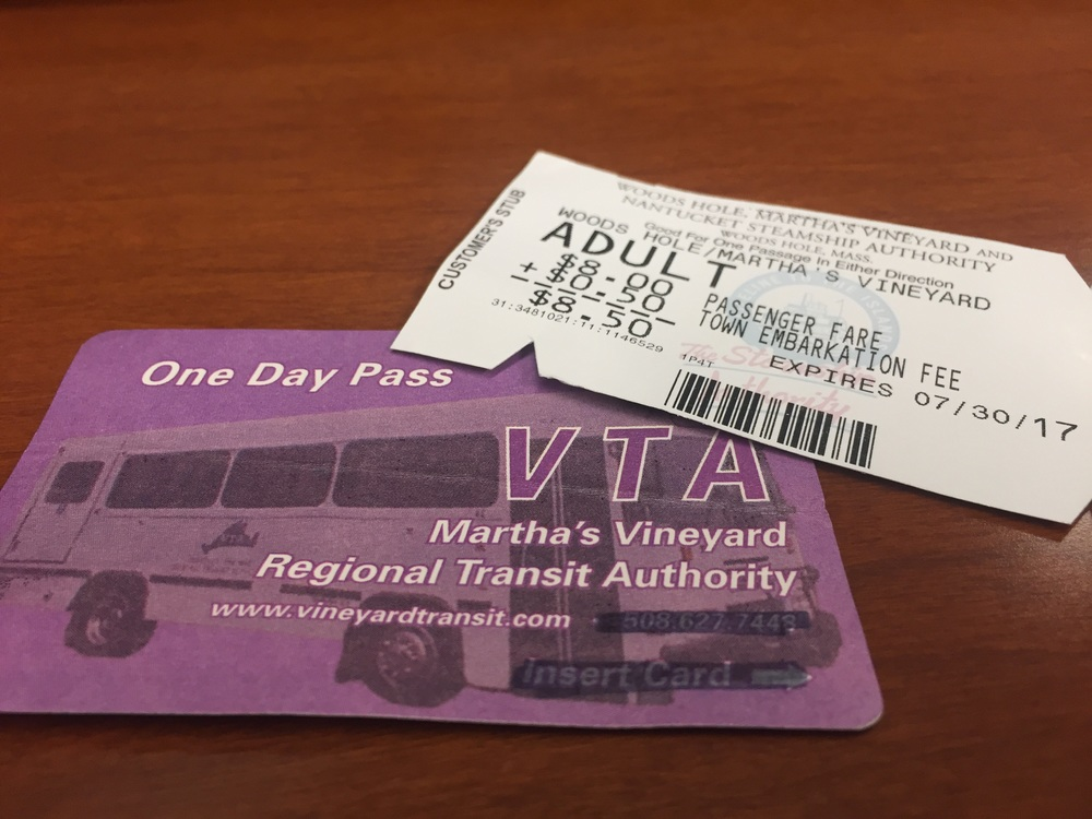 The Steamship Authority ferry ticket and the VTA Bus day pass