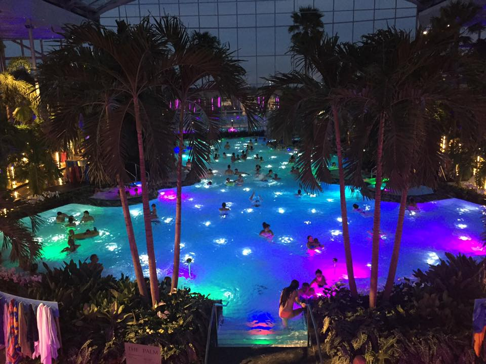 The Therme Bucaresti at night.  The party doesn't stop when the sun sets.