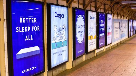 Casper advertisements can be easily found in NYC subways stations and on the trains.