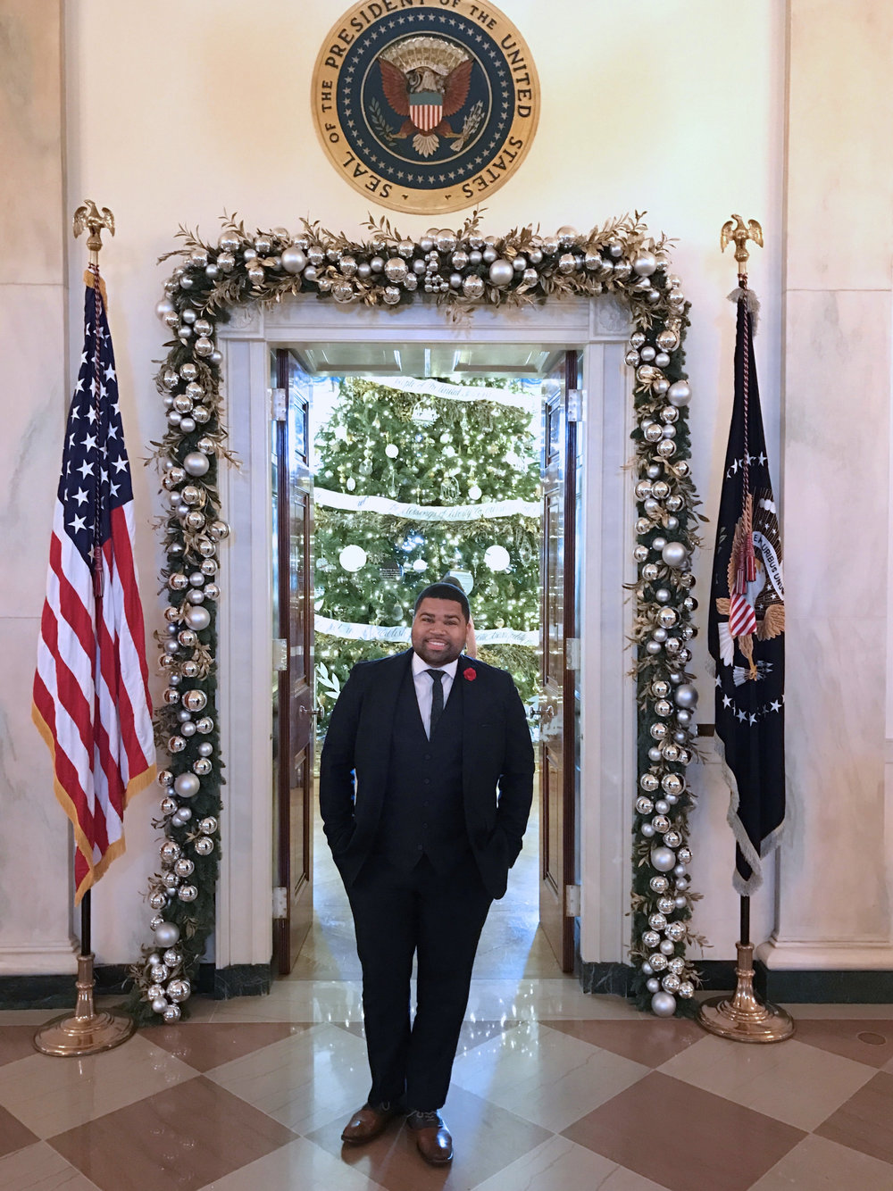 When you're at the White House, you have to get the obligatory photo under the seal.