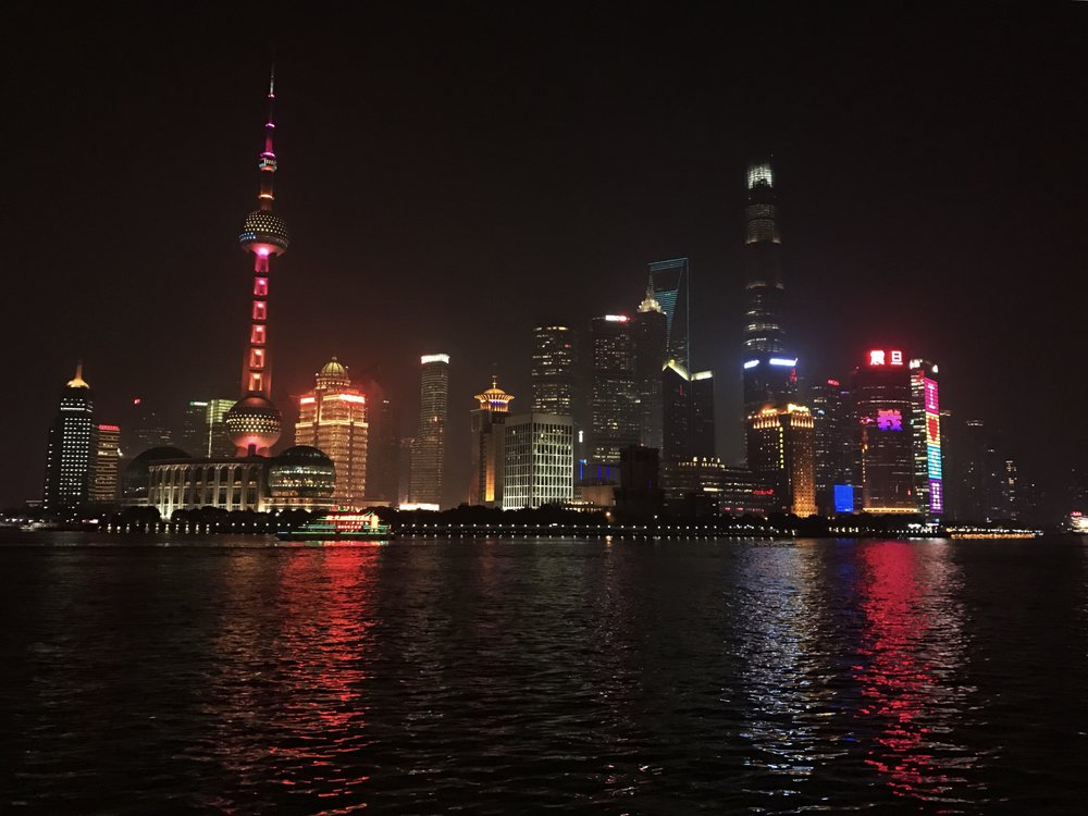 An awesome view of Shanghai's skyline from The Bund.