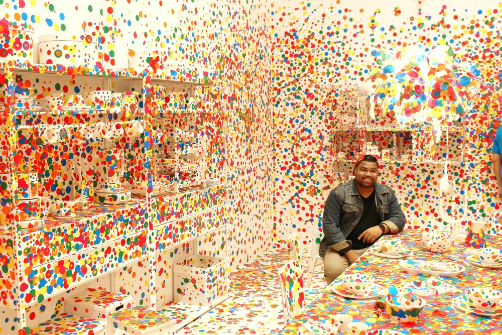 The very last room you visit before leaving the exhibition is the colorful dot-covered Obliteration Room.
