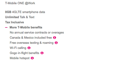 The T-Mobile one plan is all inclusive.