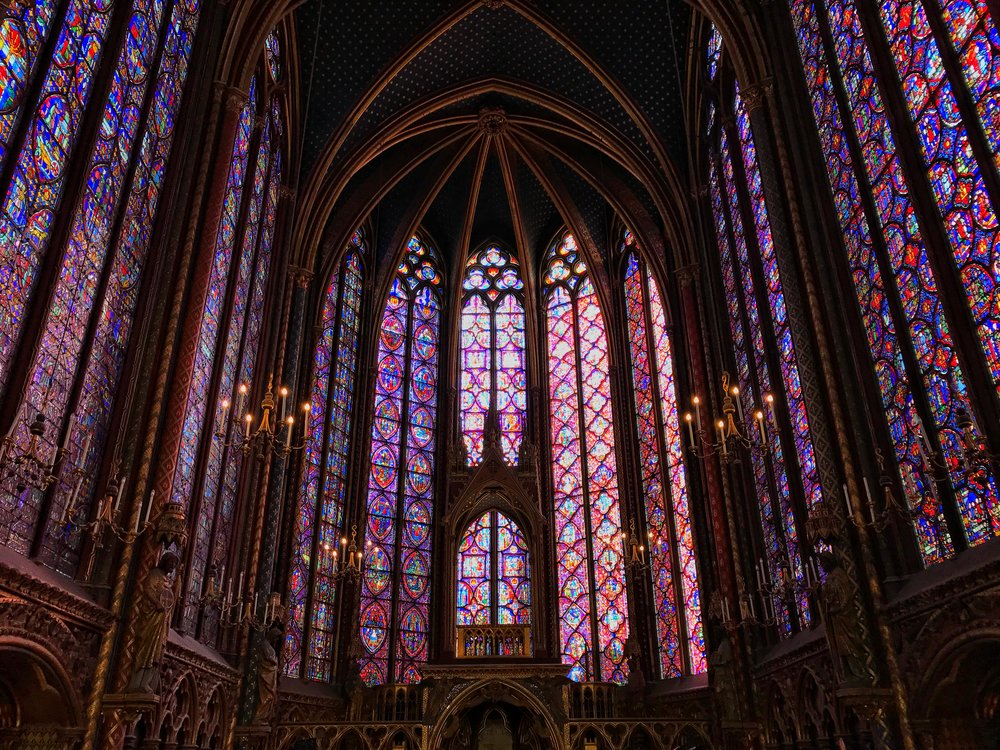 The stained glass windows at Sainte-Chapelle in Paris.