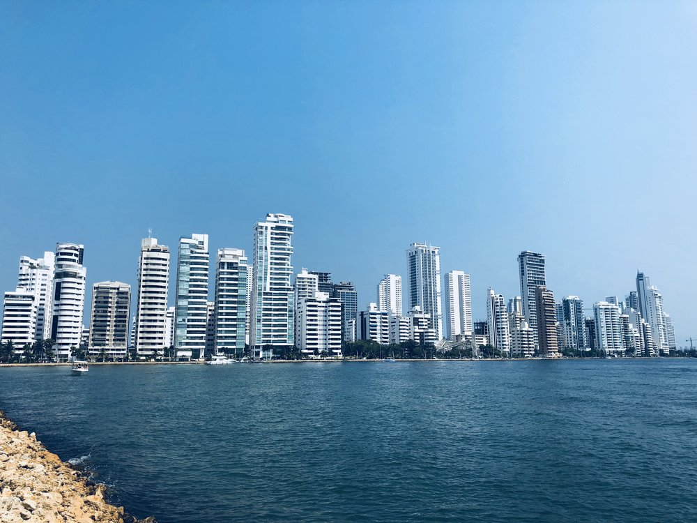 The view of Bocagrande, an area of Cartagena filled with restaurants, casinos, restaurants, and shops.