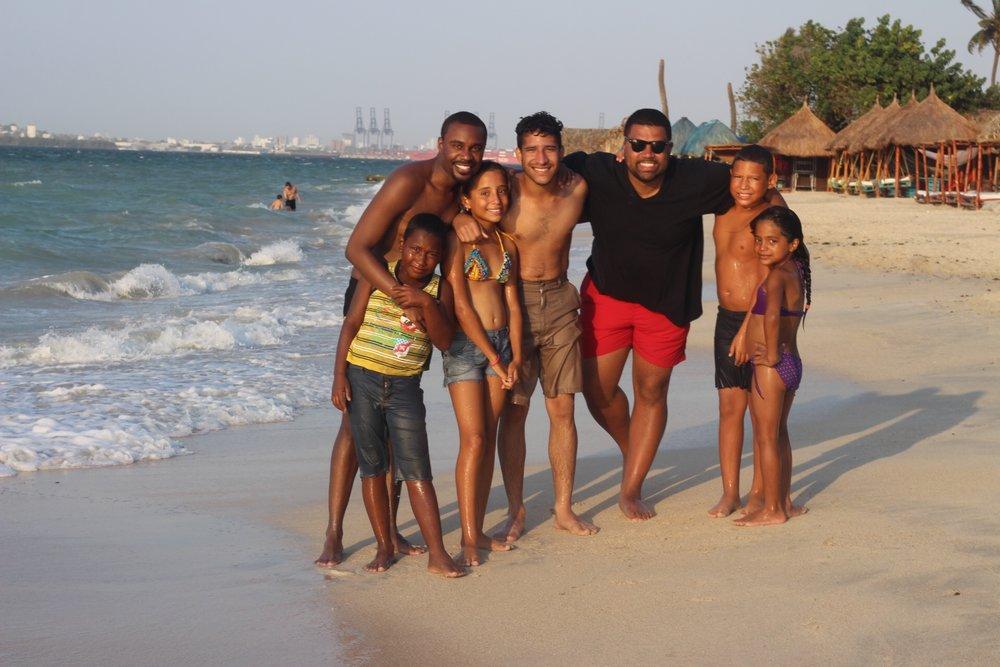 Photo op with the children we met on Tierra Bomba beach
