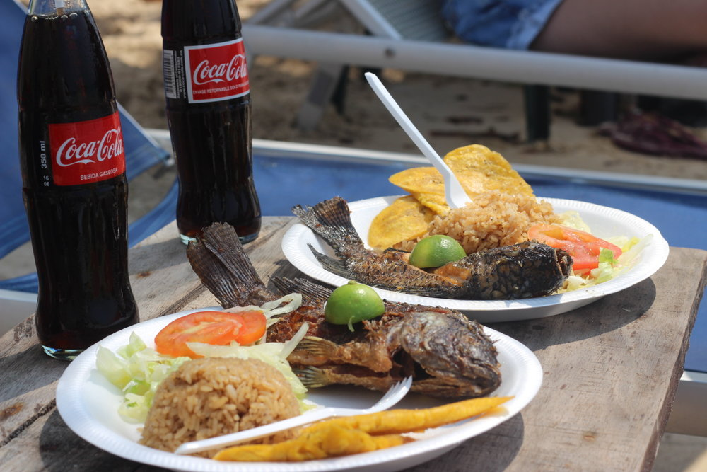 Fresh fish served for lunch at La Playa Blanca. Included with the tour.