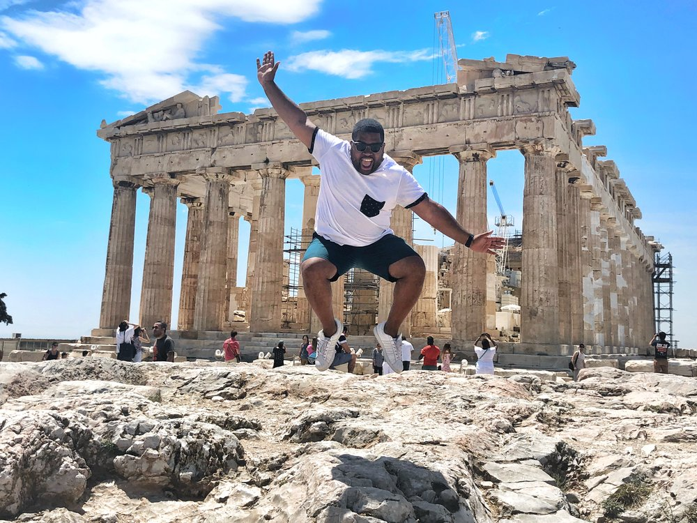 Jumping at the Parthenon is not recommended. The rocks and pavement can be very slippery. I was lucky to get this shot before a worker told me to stop!