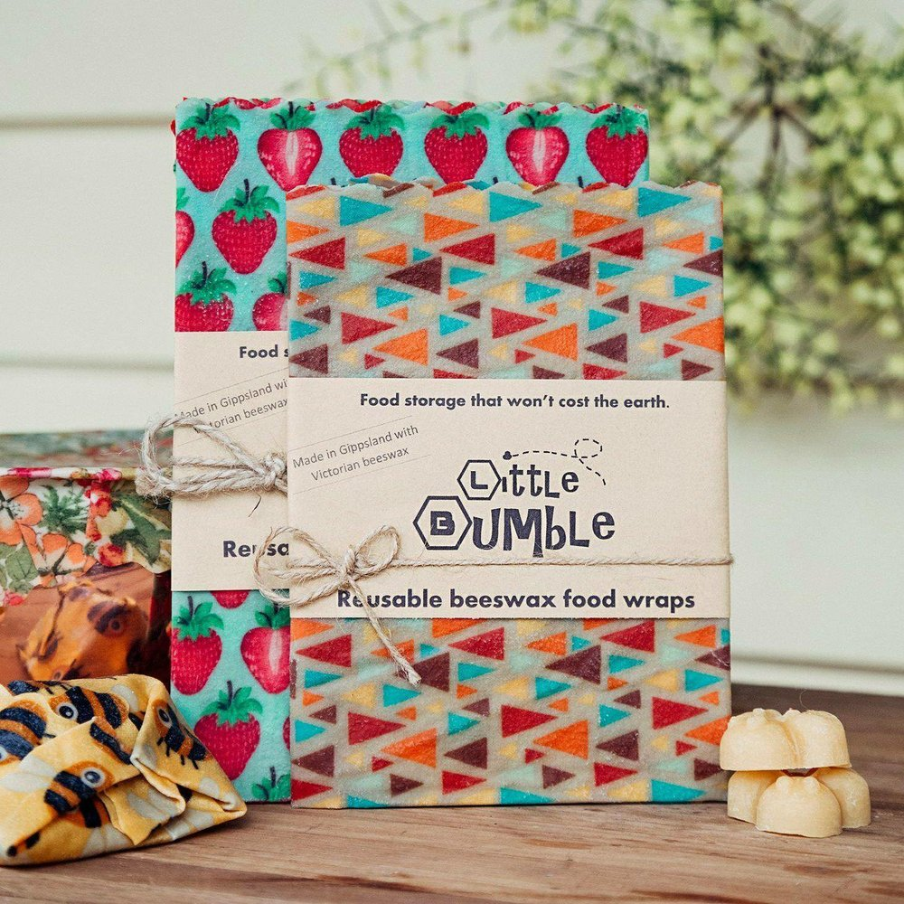 Set of reusable beeswax food wraps