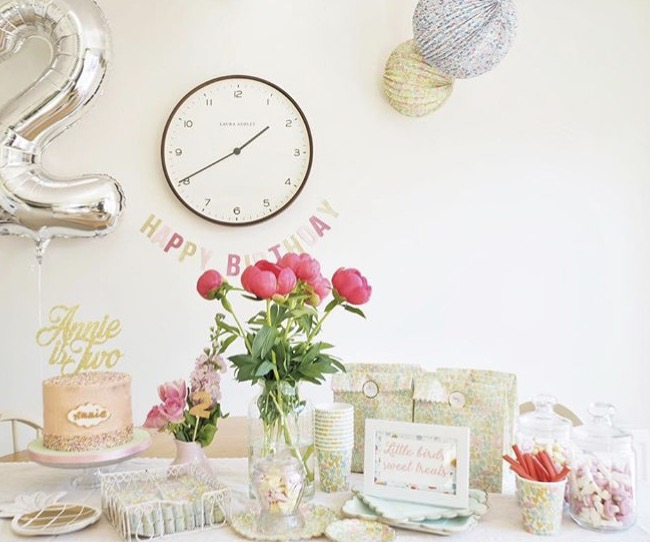Party inspiration for girls. Girls party planning and styling ideas. With Blossoming Birds Instagram feature.