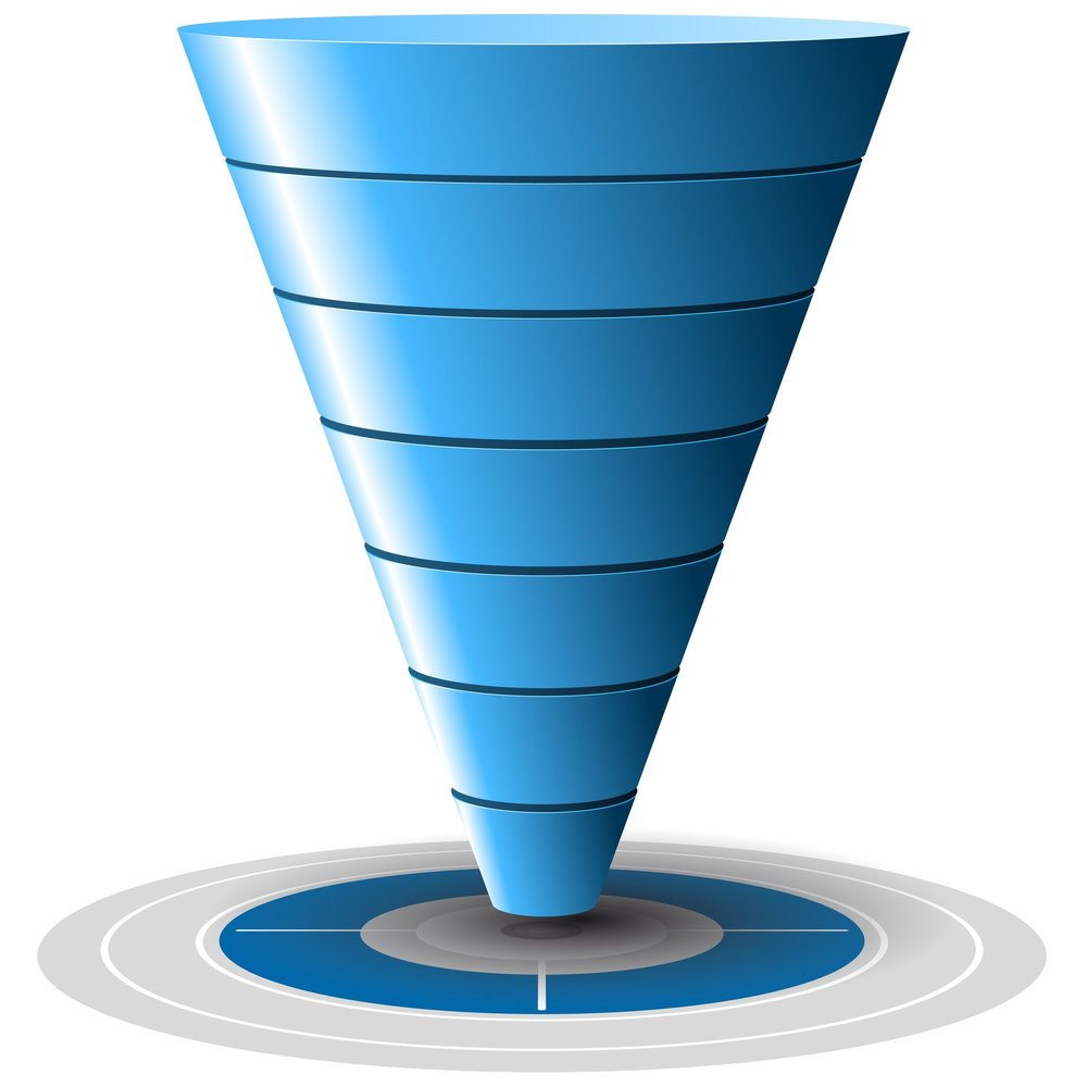 16461459 - conversion or sales funnel easily customizable, from 1 to 7 levels plus on target, vector graphics  blue tones
