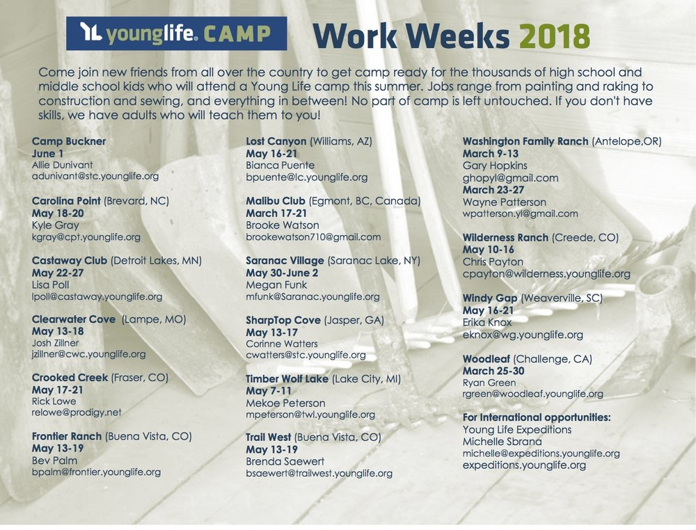 For more information or to sign-up for a particular Work Week, contact the properties listed above.