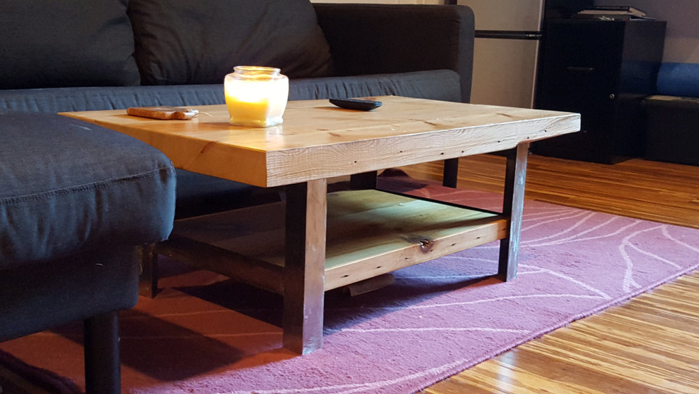 Reclaimed Heart Pine and Angle Iron Coffee Table