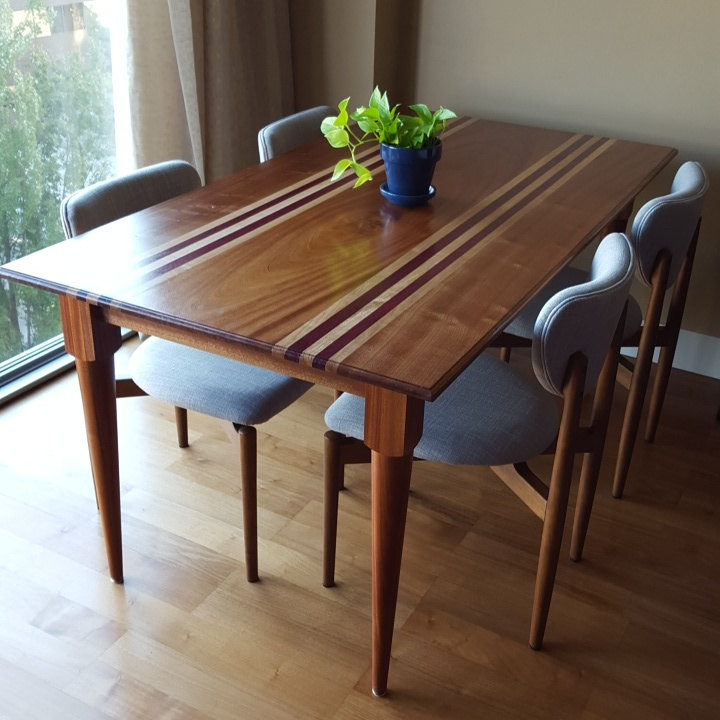 Custom Hardwood Mid-Century Modern Dining Table