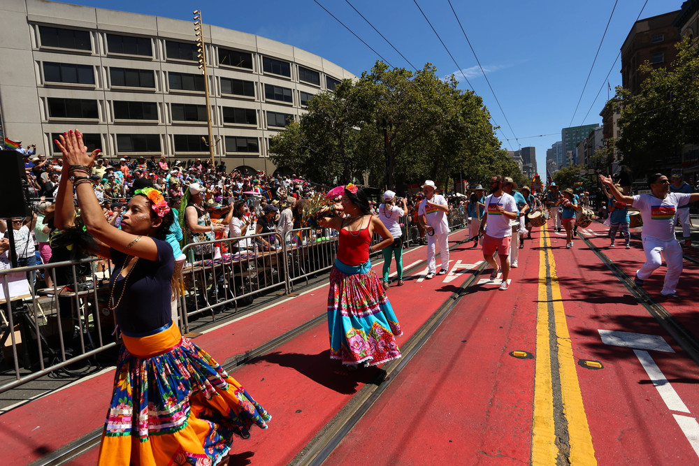Latina performers dance in the parade as thousands gathered to celebrate Pride in San Francisco, Cali. Sunday, June 26, 2016.