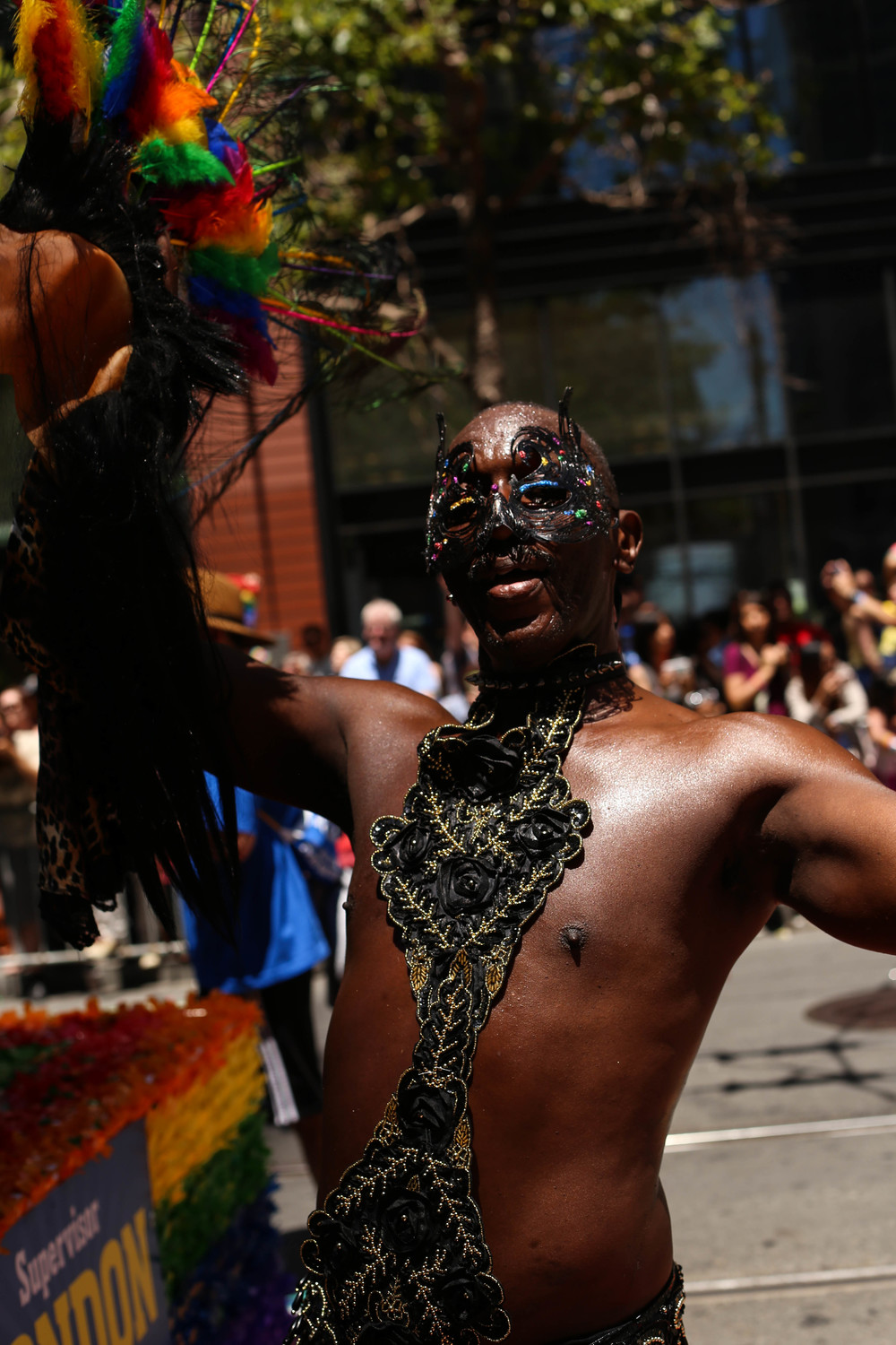 Parader poses during the San Francisco Pride Parade on Sunday, June 26, 2016.
