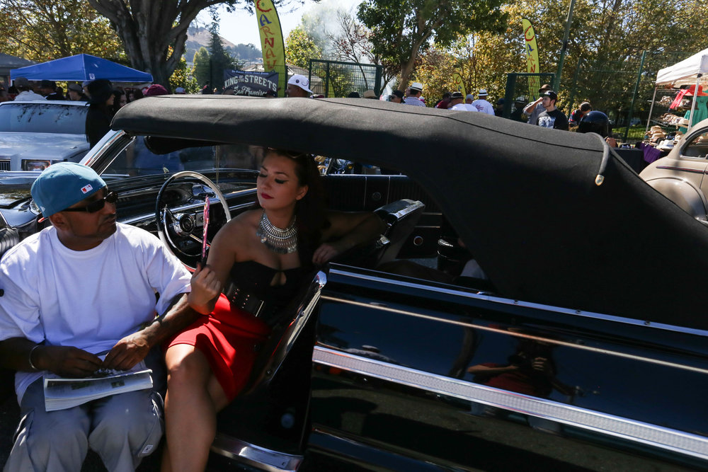 On a hot Sunday in the mission the San Francisco Lowrider Council held a barbecue for Mexican Independence day followed by a cruise through the city. Potrero del Sol Park (La Raza) was filled with people gathering to celebrate and admire lowriders, Sunday, September 19, 2016. (Jessica Webb)