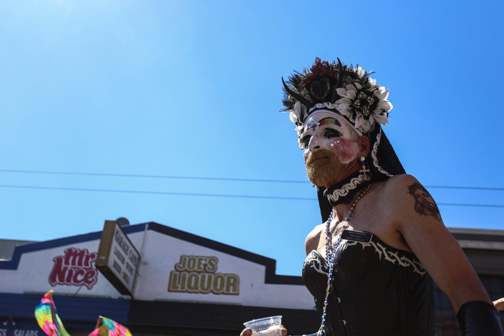 Sister Rampage!!! of the church of 8 wheels glides through the crowd at the Folsom Street Fair where hundreds gathered for the festivities, San Francisco, California, Sunday, Sept. 25, 2016. (Jessica Webb)