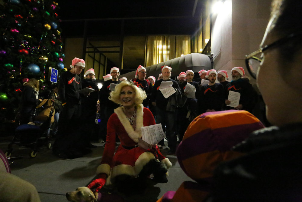 First Lady of The Castro, Donna Sachet greeted the crowd with a warm welcome at the Castro tree lighting on Monday, November 28, 2016. San Francisco, California (Jessica Webb)