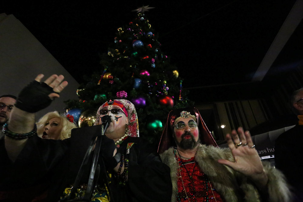 The Sisters of Perpetual Indulgence gave a blessing at the Castro tree lighting on Monday, November 28, 2016. San Francisco, California (Jessica Webb)