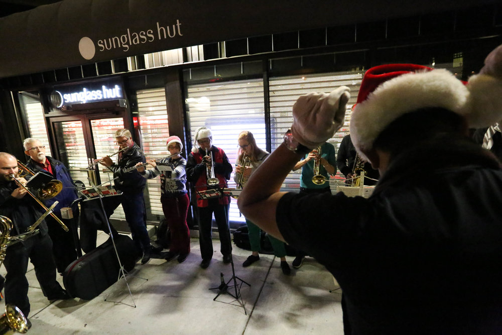 S.F. Lesbian/Gay Freedom Band provided holiday music, which added to the holiday cheer at the Castro tree lighting on Monday, November 28, 2016. San Francisco, California (Jessica Webb)