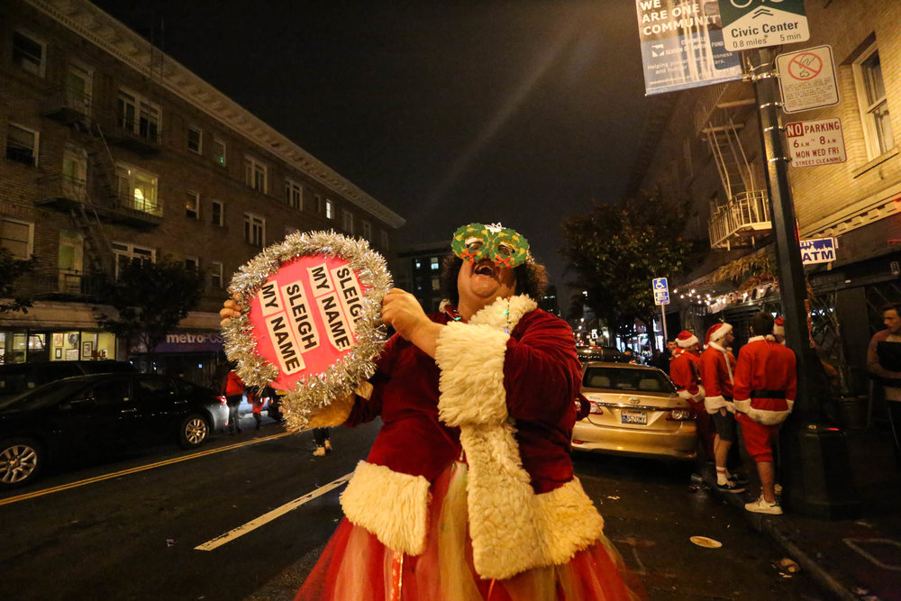 Hundreds of San Franciscans filled the streets of mid-market San Francisco to celebrate SantaCon. San Francisco, California, Saturday, December 10, 2016 (Jessica Webb).