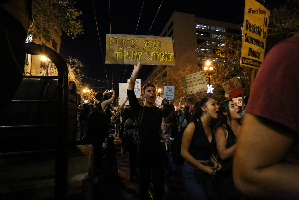 Thousands of people took to the streets on Wednesday night to protest America's new president, Donald Trump. The protest started at Powell Street station through the Castro finishing in The Mission. San Francisco, California, Wednesday, November 9, 2016. (Jessica Webb)