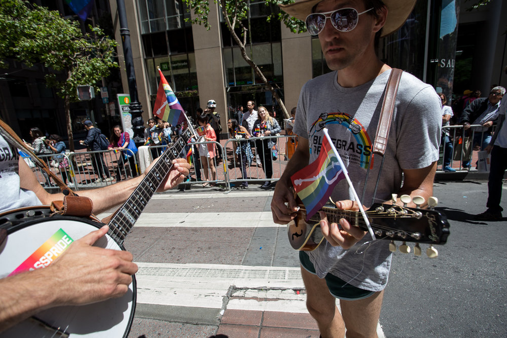 The California Bluegrass Association at the in the 2017 San Francisco Pride Parade on Sunday, June 26, 2017, San Francisco, California (Jessica Webb)