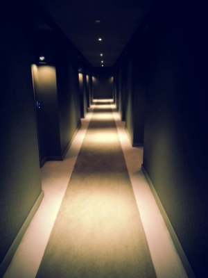 Confronted by a surreal hallway.