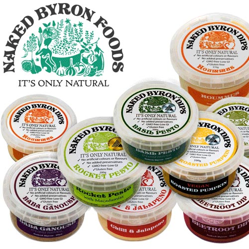 Naked Byron's award winning dips, hummus, pestos, salsas, mayonnaises and totopos.  are all natural and use the best local ingredients.