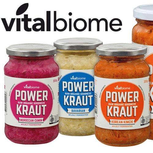 Powerkraut is Teeming with beneficial live cultures, enzymes, amino acids and vitamins that may help improve digestive vitality.